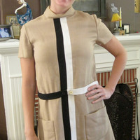 60s Adorable Dress / Linen / Mod, Hip / Beige, Black, White / Small, Medium