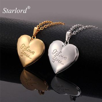 Starlord Heart Memory Locket Women Men Necklaces & Pendants Gold Color Charm I LOVE YOU Photo Floating Locket Necklace P269