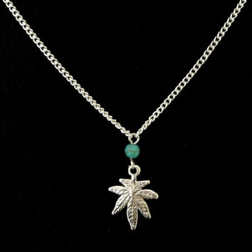 Silver Cannabis pot leaf turquoise necklace, Weed jewelry, Marijuana jewelry, Weed necklace, Pot leaf silver necklace