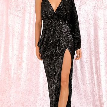 Kiss Me Now Black Sequin Asymmetric One Long Kimono Sleeve Drape Backless Cross Wrap V Neck Split Maxi Dress