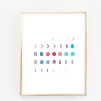 watercolor Moon Calendar, office art, Moon Phases, Moon Print, Moon Art, Printable Art, Wall Prints Moon Wall Art tumblr room decor