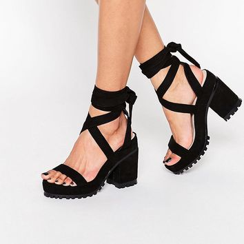 ASOS TRIXY Lace Up Heeled Sandals