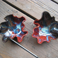 Ceramic Bowl Set - Red and Turquoise Galaxy Glaze - Ceramics and Pottery - Serving Bowls - Outdoor Decor - Wave Bowl - Wedding Gift