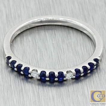 Vintage Estate 14k Solid White Gold Diamond Sapphire Stackable Wedding Band Ring