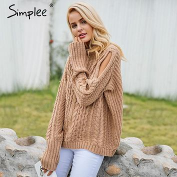 Simplee Cold shoulder knitting pullover Casual autumn winter sweater women twist jumper Hollow out fashion warm sweater female