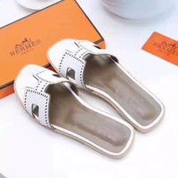 Hermes Women Trending White printing Casual Shoes Flat Sandal Slipper Heels