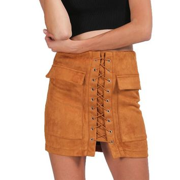 Vintage High Waist Lace Up Suede Leather Women Summer Skirt Sexy Pockets Preppy Short Pencil Skirt 2017 Casual Skirts S M L