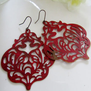 Red Patina Earrings, Boho Filigree Earrings, Flower die Pattern, gift for Her