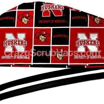 Men's Fold-Up Cuffed or Un-Cuffed Surgical Scrub Hat Cap in Nebraska Huskers
