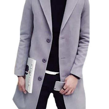 Abetteric  Mens Fashion Solid Slim Fit Single Breasted Trench Coat