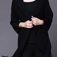 Black Collarless Tassel Hem Knitted Cardigan