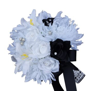 Winter Themed Wedding Bouquet  - White Flowers with Color of Your Choosing