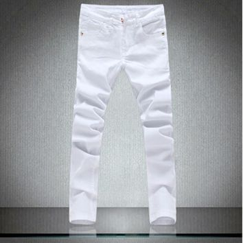High Quality Patchowrk Jeans Men 2016 New Designer Skinny White Pants Elastic Denim Overall Slim Fit Casual Mens Clothing