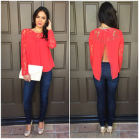 Coral Lace Slit Back Top