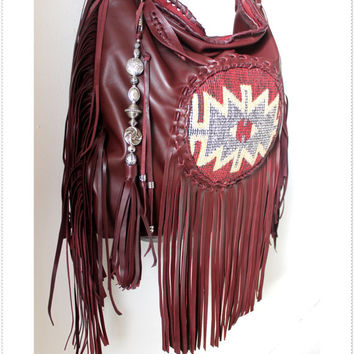 Burgundy oxblood leather aztec leather bag turkish kilim bohemian festival boho fringe fringed bag tribal navajo ethnical southwestern gypsy