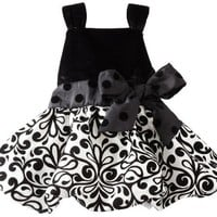Mud Pie Baby Girls' Damask Party Dress, Multi colored, 2T 3T