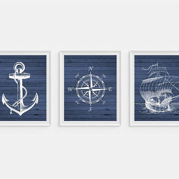 Nautical Wall Decor, Blue Nautical Art, Nautical Prints, Ship Wall Art, Compass Print, Blue Wall Art, Maritime Art, Boys Room Wall Art