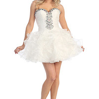 Short Ruffle Prom Dress with Beading in Ivory