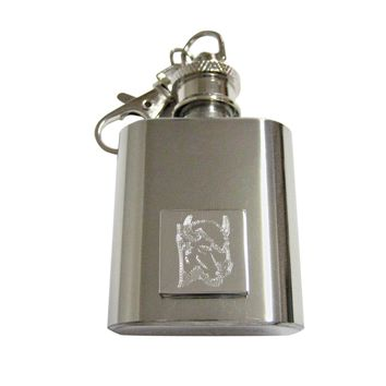 Silver Toned Etched Bison Head 1 Oz. Stainless Steel Key Chain Flask