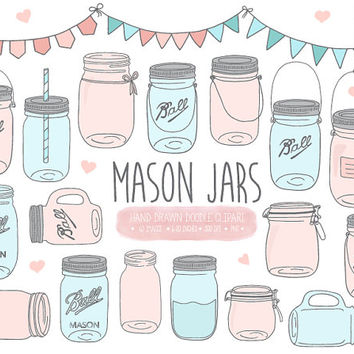 Mason Jar Clip Art. Hand Drawn Pastel Pink & Blue Mason Jar Clipart. Doodle Scrapbooking Jam Jar, Pitcher, Jug, Bunting Banner Illustrations