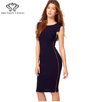 2016 Elegant Sexy Sleeveless Collar To Work Business Office Pencil Women Dress Business Casual Vestido De Festa A003