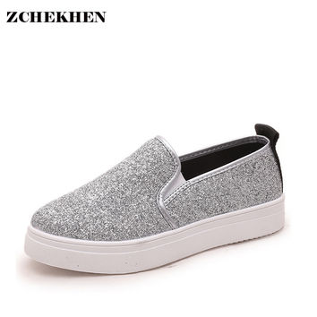 Spring Women Bling Loafers Fashion Casual Flats Shoes Woman Slipony Female Shoes Silver Black XW217031401