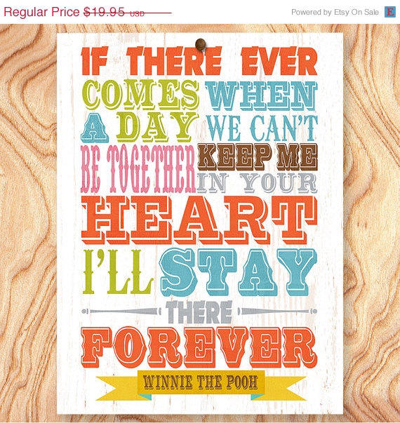 Winnie The Pooh Quote Art: ON SALE Winnie The Pooh Quote Art Print From GraceHouseArt On