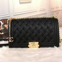 CHANEL Fashionable Women Weave Shape Metal Leather Chain Shoulder Bag Satchel Crossbody Black I