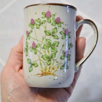 Stoneware Cup Mug Sweet Clover Green Purple Vintage Stoneware Japan  PanchosPorch