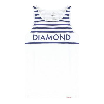 Diamond Supply Co Blue Chest Stripes Men's White T-shirt