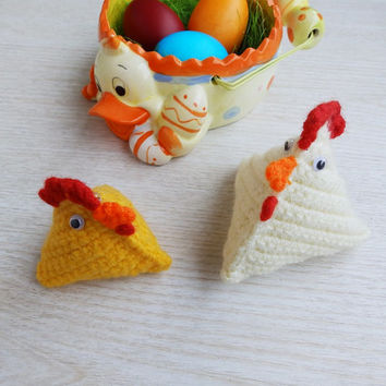 Crochet Amigurumi Chickens Easter Ornaments Home Decor, Crochet Toy Stuffed Birds Set of 2