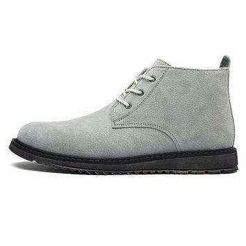 Suede Leather Men Boots Genuine Leather Western Boots Man Rubber Shoes  Winter Lace Up