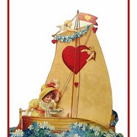Victorian Vintage Valentine Girl on a Sailboat Hearts Counted Cross Stitch Pattern