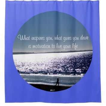 Motivation Quote by Kat Worth Shower Curtain