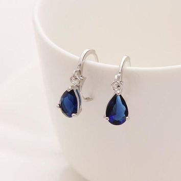 ac PEAPO2Q 2017 New Summer Style Royal Blue Austria Crystal Silver Clip Dangle Earrings For Woman Charm aretes Pierced on ear jewelry