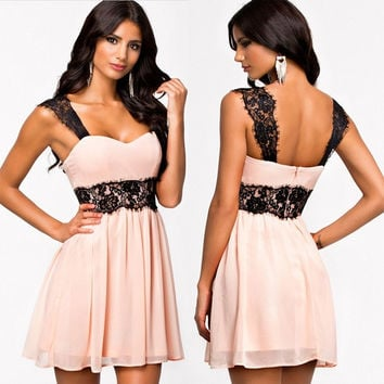 Fashion Womens Chiffon Lace Sleeveless Evening Backless Mini Dress Pink Hot  D_L = 1712403332