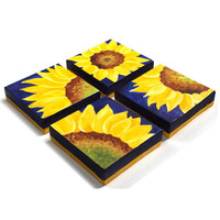 Home and Office Decor, 4 SUNFLOWERS on blue, Four 6x6 acrylic canvas paintings, abstract art