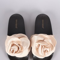 Bamboo Satin Oversized Rosette Applique Slide Sandal