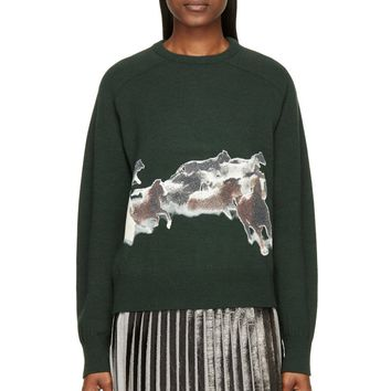 Toga Green And Brown Bead-print Horses Sweater