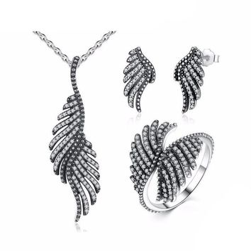 925 Sterling Silver Phoenix Feather Jewelry Set