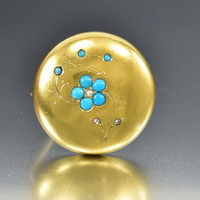 Turquoise Forget Me Not Diamond 14K Gold Brooch