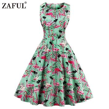 ZAFUL Plus Size 4XL Women Retro Dress 50s 60s Vintage Rockabilly Swing Feminino Vestidos Flamingo Floral Print 2017 Party Dress