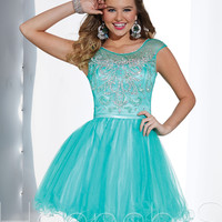 Sheer Scoop Neckline Short Prom Dress Hannah S 27880