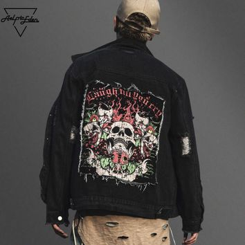 ca spbest Black Denim Skulls Patch Streetwear Jacket