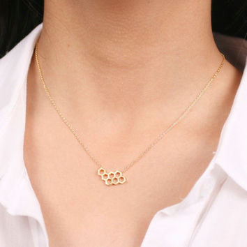 Honeycomb Necklace, Geometric Necklace, Geometric Honeycomb Jewellery, Tiny modern Necklace (18K Gold Plated, Silver Plated), Dainty