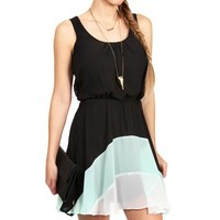 Black/Seafoam/Ivory Color Block Chiffon Dress