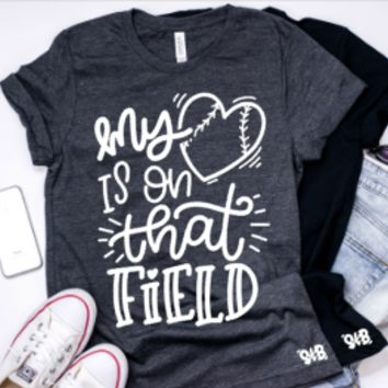 My Heart is on that Field Adult Tee or Tank