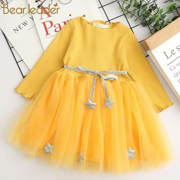 Bear Leader Girls Dress 2018 Spring Casual Style Baby Girl Clothes Long Sleeve Pentagram Sashes for Kids Clothes Princess Dress