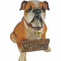 `Want Some Of This?` Cute Bulldog Un-Welcome Statue Dog