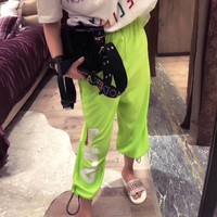 """Fila"" Women Casual Fashion Beaded Letter Print Leisure Pants Sweatpants Trousers"